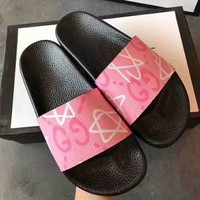 Trendsetter Gucci Woman Men  Fashion Print Slipper Sandals  Shoes