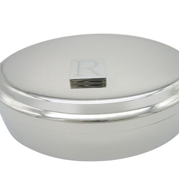 Letter R Etched Monogram Pendant Oval Trinket Jewelry Box