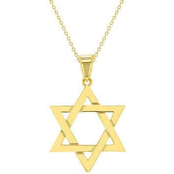 18k Gold Plated Religious Judaism Jewish Star of David Necklace Pendant 18""