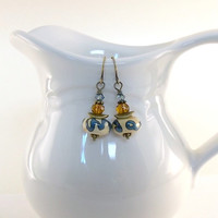 Earrings Antique Brass Tan and Blue Lampwork