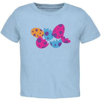 CREYCY8 Jurassic Dinosaur Dino Eggs Light Blue Toddler T-Shirt