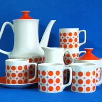 Retro Orange Sunburst Motif Coffee Pot Set - 70s Vintage Porcelain Groovy Starburst Atomic Tea Pot Teapot Set - Made in Japan