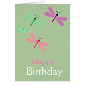 Happy Birthday Dragonflies Card