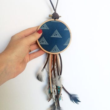 Modern Bohemian Wall Hanging - Package Tie On - Boho Dreamcatcher - Small Blue Dream Catcher - Boho Ornament - Boho Home Decor - Boho Gifts