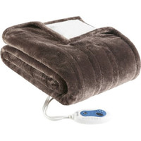 Beautyrest Heated Plush to Berber Snuggle Wrap Chocolate