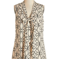ModCloth Mid-length Sleeveless South Florida Spree Top in Geometric
