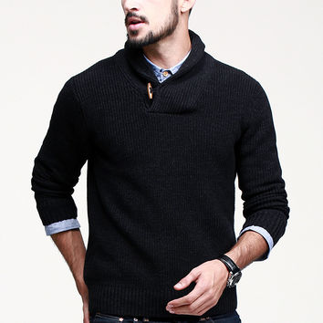 Classic Men's Sailor style Chin Strap Black Pullover Wool Sweater