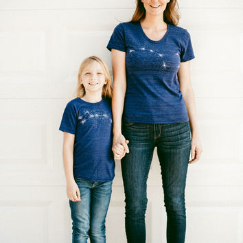 Big Dipper Little Dipper Tshirt set, mother daughter, mother son, mommy and me, gift for women, astronomy t shirt set, Mother's Day