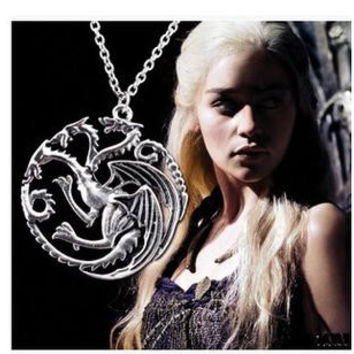3PCS Valentine's Day Gift The Song Of Ice And Fire Game Of Thrones Daenerys Targaryen Dragon Badge 56cm Chain Necklace 0082