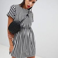 Boohoo Striped Gathered Waist Smock Dress at asos.com