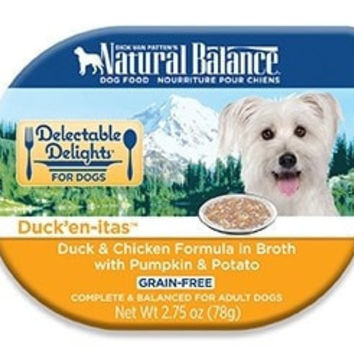 NA DOG CAN - DELECTABLE DELIGHTS GRAIN FREE DUCK'EN-ITAS DUCK/CHICKEN/BROTH DOG - 24/2.75OZ - NATURAL BALANCE PET FOODS - UPC: 723633431224 - DEPT: NATURAL BALANCE