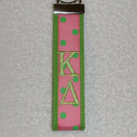 Kappa Delta Sorority Keychain - Pink & Green (OFFICIAL LICENSED PRODUCT) Monogrammed Key Fob Keychain Cotton Webbing Ribbon Wristlet