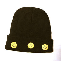 Smiley Face Beanie - Black or Pink