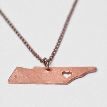 Handmade Copper State Necklaces - States N-Z