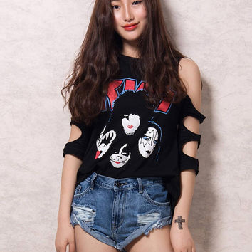 Black Cold Shoulder Cut Out Skull Print T-shirt