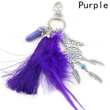 Boho Style Key Chain Dream Catcher Tassel Feathers Palm Pendant Keyring Keychain
