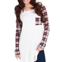 And The Radio Played Burgundy Plaid Top | Monday Dress Boutique