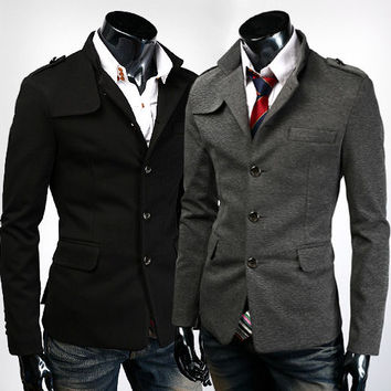 Tunic Style Men's Fashion Blazer Jacket