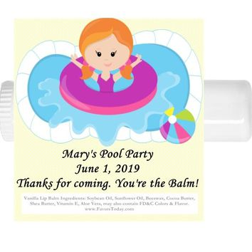 15 Pool Party Birthday Lip Balm Favors Red Hair
