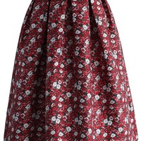 Red Floral Wonderland Jacquard Midi Skirt