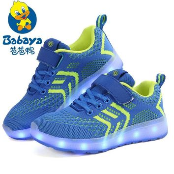 BABAYA Children USB Charge Colorful Led Back Light Shoes Mesh Girls Flash Luminous Sneakers Boys Glowing Sneakers Kids Shoes