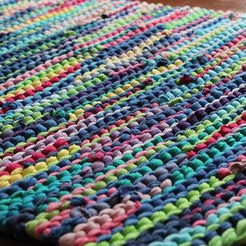 Rainbow Rag Rug T Shirt Rug Retro Cottage Chic Lime Green Cerulean Blue Pink Upcycled Kitchen Laundry Rectangle 25x36 -US Shipping Included