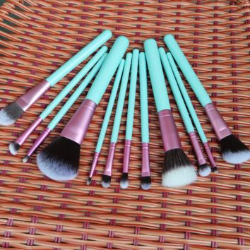 12pcs Blue Pink Cosmetics Brushes Makeup Tools