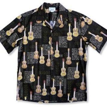 Ukulele Madness Black Hawaiian Cotton Aloha Shirt