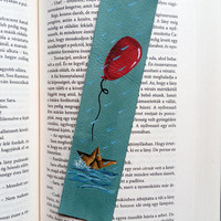 Pennywise bookmark / Stephen King bookmark / We all float down here / It /  Paper boat bookmark / Red balloon bookmark / Leather bookmark