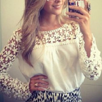 White Long Sleeve Cut-Out T-Shirt
