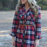 Pretty In Plaid: Red/Navy - Lavish Boutique