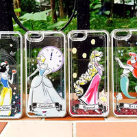 New Disney Snow White Cinderella Rapunzel Ariel Princess Liquid Glitter Case For Iphone 5 5G 5s 6 6S 6Plus