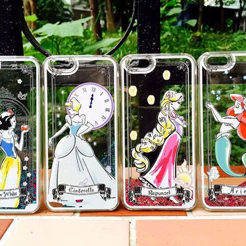 Disney Snow White Cinderella Rapunzel Ariel Princess Dynamic Liquid Glitter Sand Quicksand Case For Iphone 5 5G 5s 6 6S 6Plus Alternative Measures