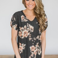All About That Floral Short Sleeve Top - Charcoal