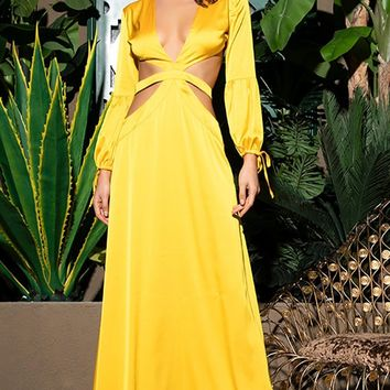 LEAD ME TO PARADISE YELLOW SATIN CASUAL CUT OUT OPEN BACK LONG BISHOP TIE SLEEVE A LINE MAXI DRESS