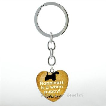 Vintage Dog silhouette Paw Prints art picture heart pendant key chains Dog Lovers keychain best friend gift idea Christmas HP242