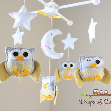 "Baby Crib Mobile - Baby Mobile - Nursery Owl Mobile - Yellow and Gray Owls ""Five Owls in the night"" (You can pick your colors)"
