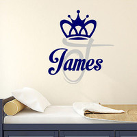 Boy Name Wall Decals Crown Decal Monogram Baby Nursery Kids Room Decor DS385