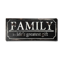 """Decorative Iron Wall Sign Plaque """"Family It's Life's Greatest Gift"""""""
