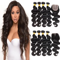 4 Bundles + Closure Body Wave Virgin Brazilian Hair