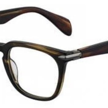 Rag & Bone - Rnb 7008 Olive Green Mustard Eyeglasses / Demo Lenses
