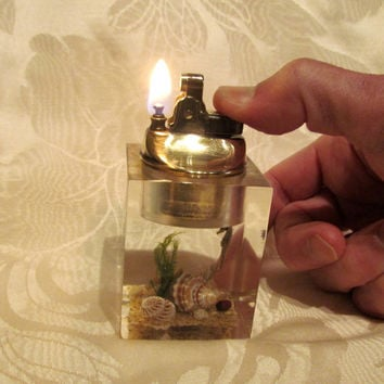 Vintage Clearfloat Lucite Lighter Table Lighter Brass 1950's Lucite Lighter Working Lighter Sea Life Lighter