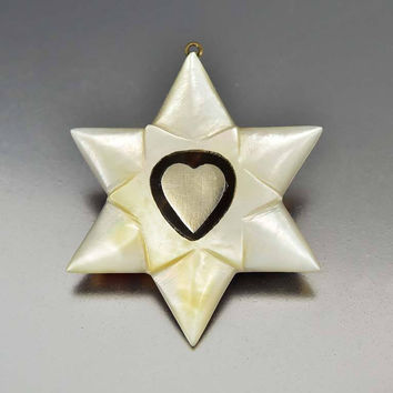 Silver Heart Tortoise Shell Pearl Star Pendant 1850s Antique