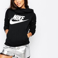 Nike | Nike Rally Funnel Neck Hoodie With Front Logo at ASOS