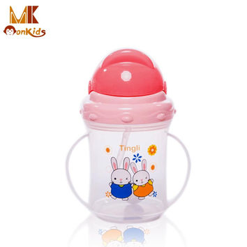 MK 2016 PP Plastic Infant Straw Cup Drinking Bottle Sippy Cups With Handles Cute Design Rice Cereal Feeding Bottle Free Shipping