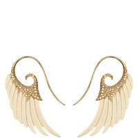 Fly Me to the Moon Mammoth Wing Earrings with 18K Yellow Gold and Brown Diamonds by Noor Fares for Preorder on Moda Operandi