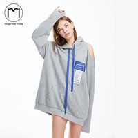 Margin 2017 New Fashion streewear girls street Long Sleeve Off Shoulder Dress Long Hoodies Sweatshirt Oversized Pocket Dress