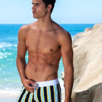 Mens Sauvage Swimwear Retro Stripe Swim Shorts
