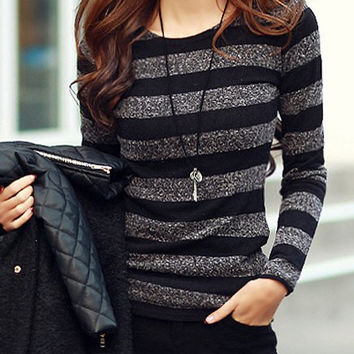 Long Sleeve Striped Knitwear