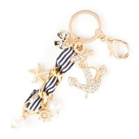 Crystal Anchor and Nautical Charms Key Ring